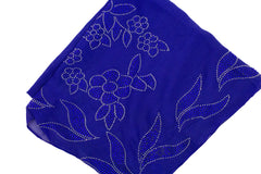 Gem Square Hijab - Floral Frenzy Royal Blue