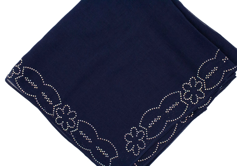 Gem Square Hijab - Navy Floral Cut
