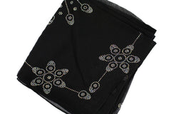 black square hijab embellished with jewels in a floral and geometric pattern