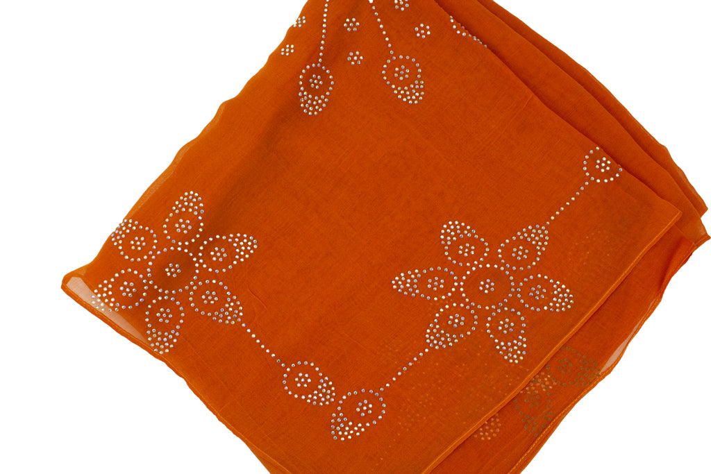 orange square hijab with jewels