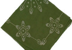 olive square hijab with jewels