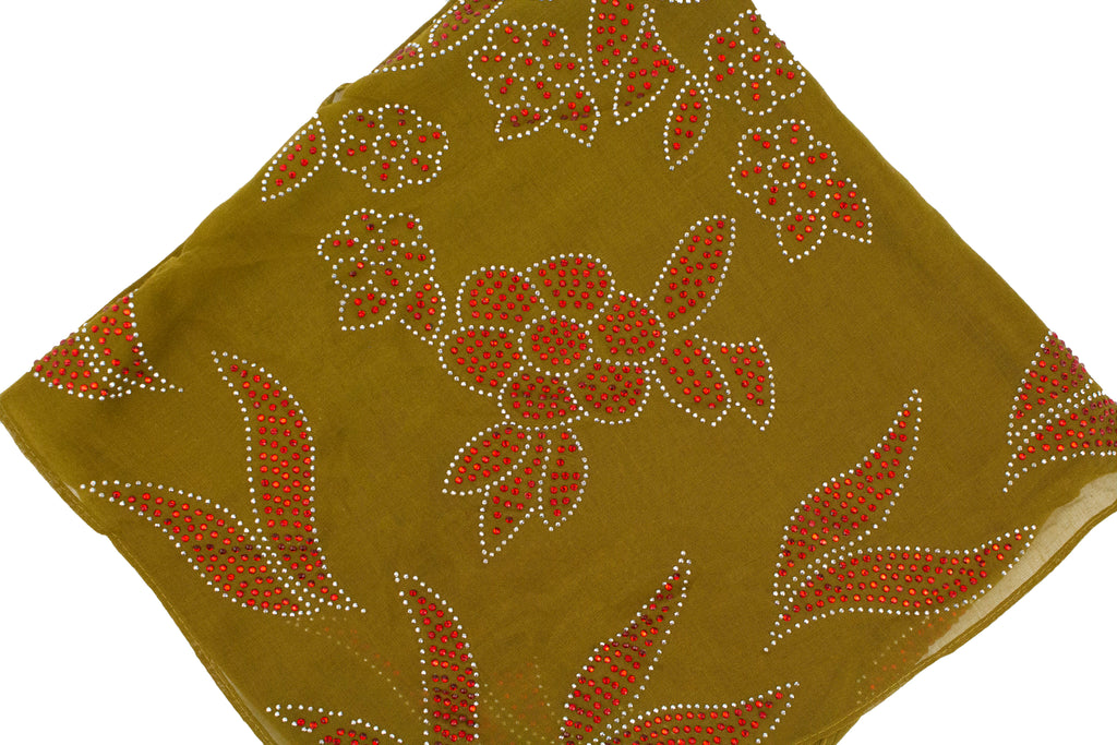 olive square hijab with red jewels in a floral pattern