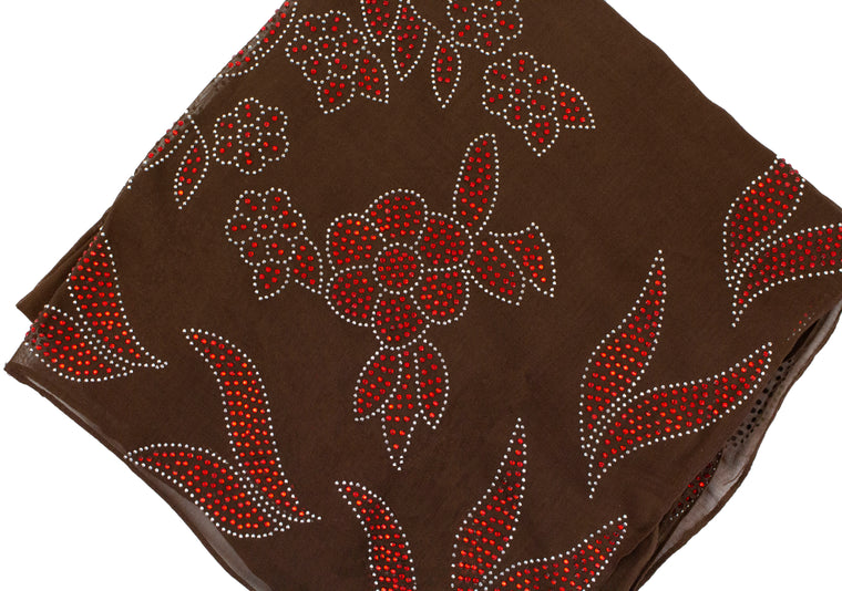 Gem Square Hijab - Floral Frenzy Brown&Red