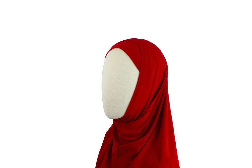 red two piece amira slip on hijab