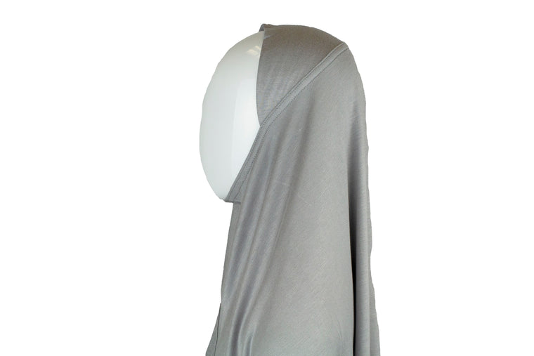 One Piece Slip on Jersey Hijab - Silver