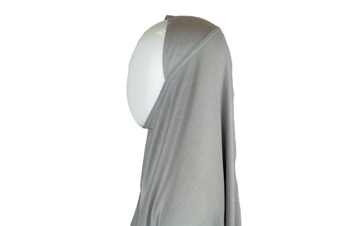 silver gray jersey slip on one piece hijab