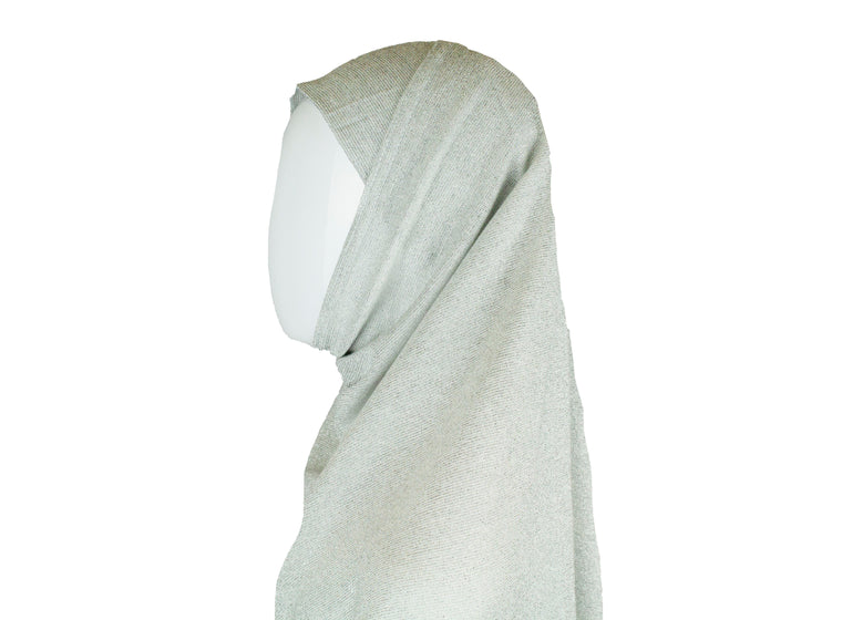 Two Piece Shimmer Jersey Hijab - Silver