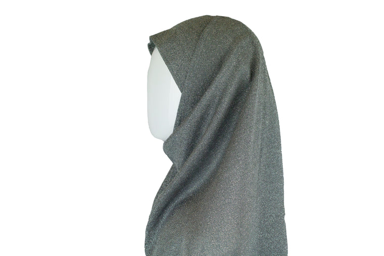 Two Piece Shimmer Jersey Hijab - Dark Gray