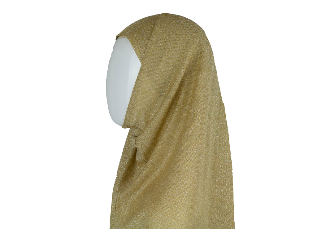 Two Piece Shimmer Jersey Hijab - Gold