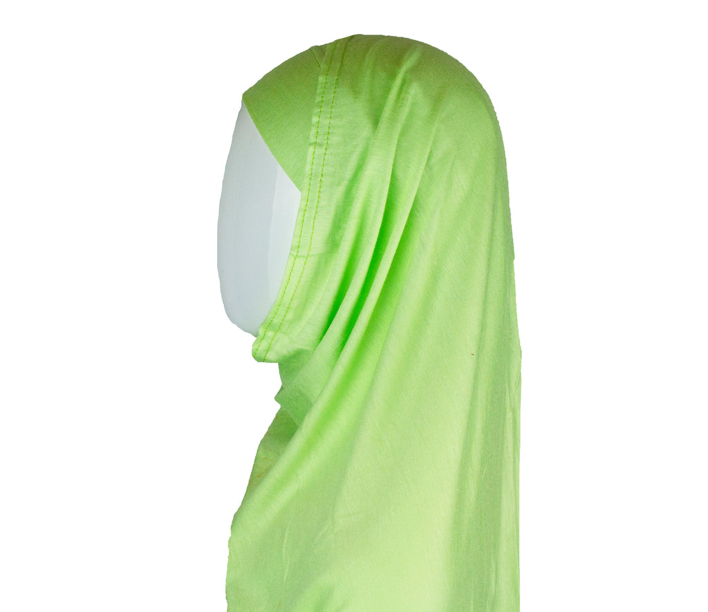 two piece slip on hijab in lime green jersey material