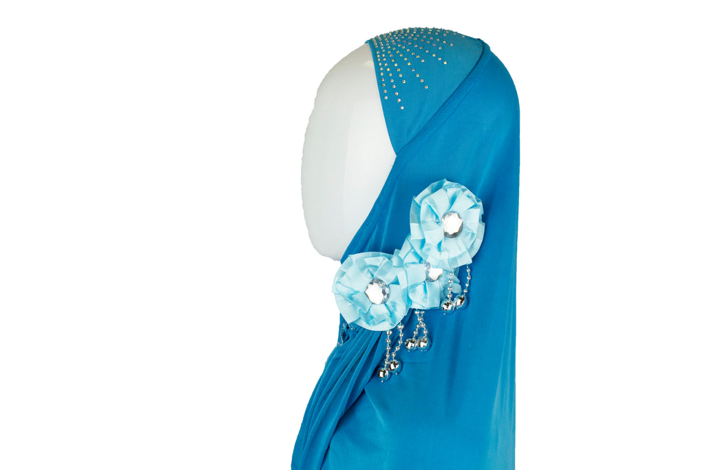 light blue slip on hijab with jewels florals and beads