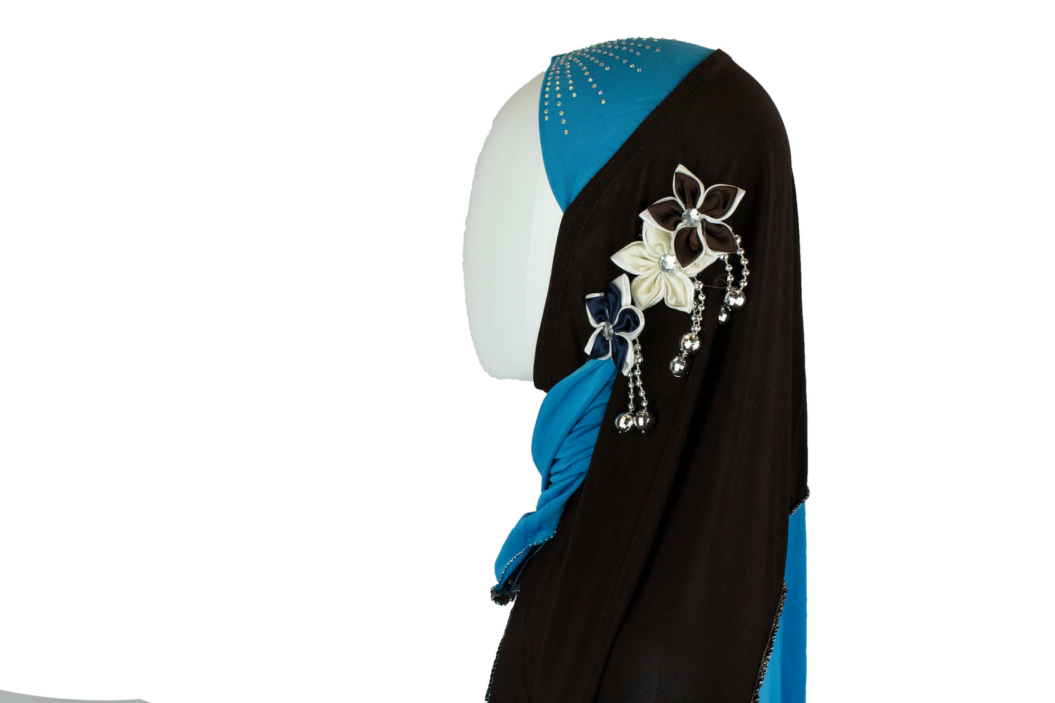 light blue and brown slip on hijab with jewels florals and beads