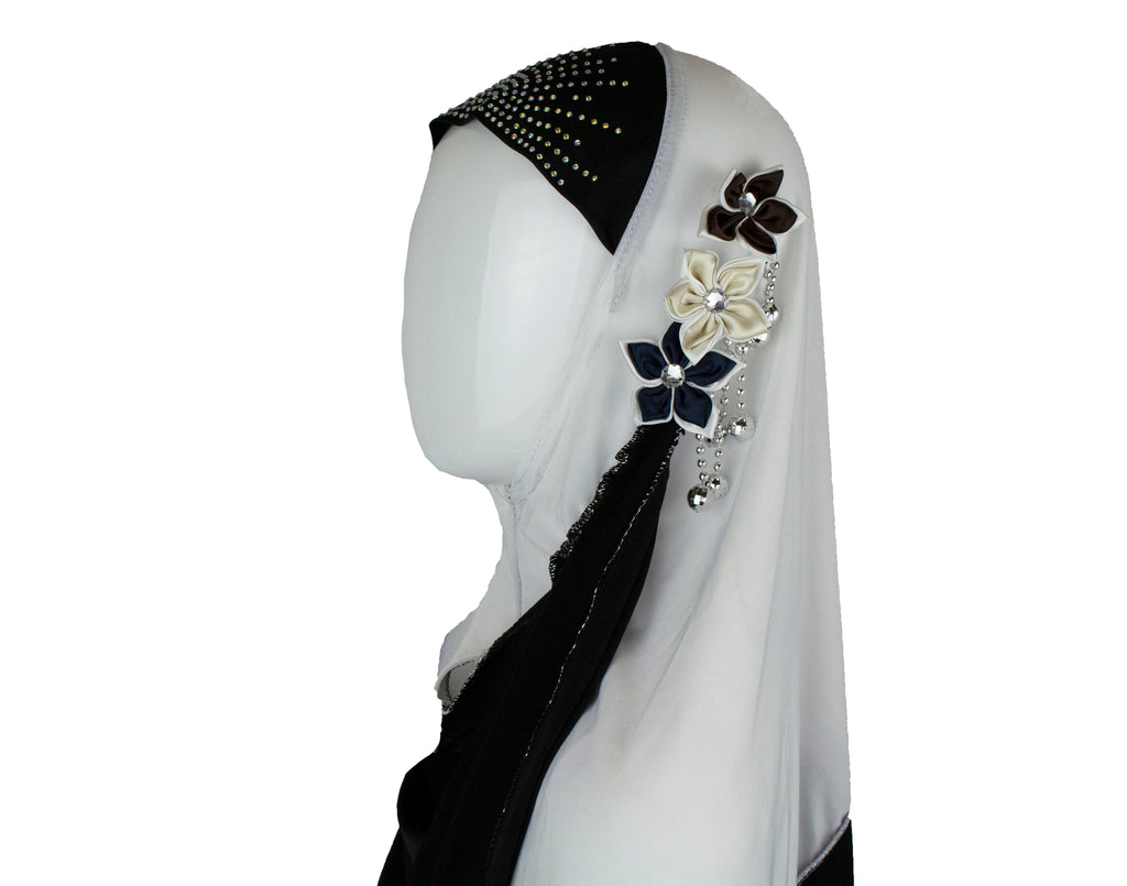 Slip-On Girls Hijab - Black and White