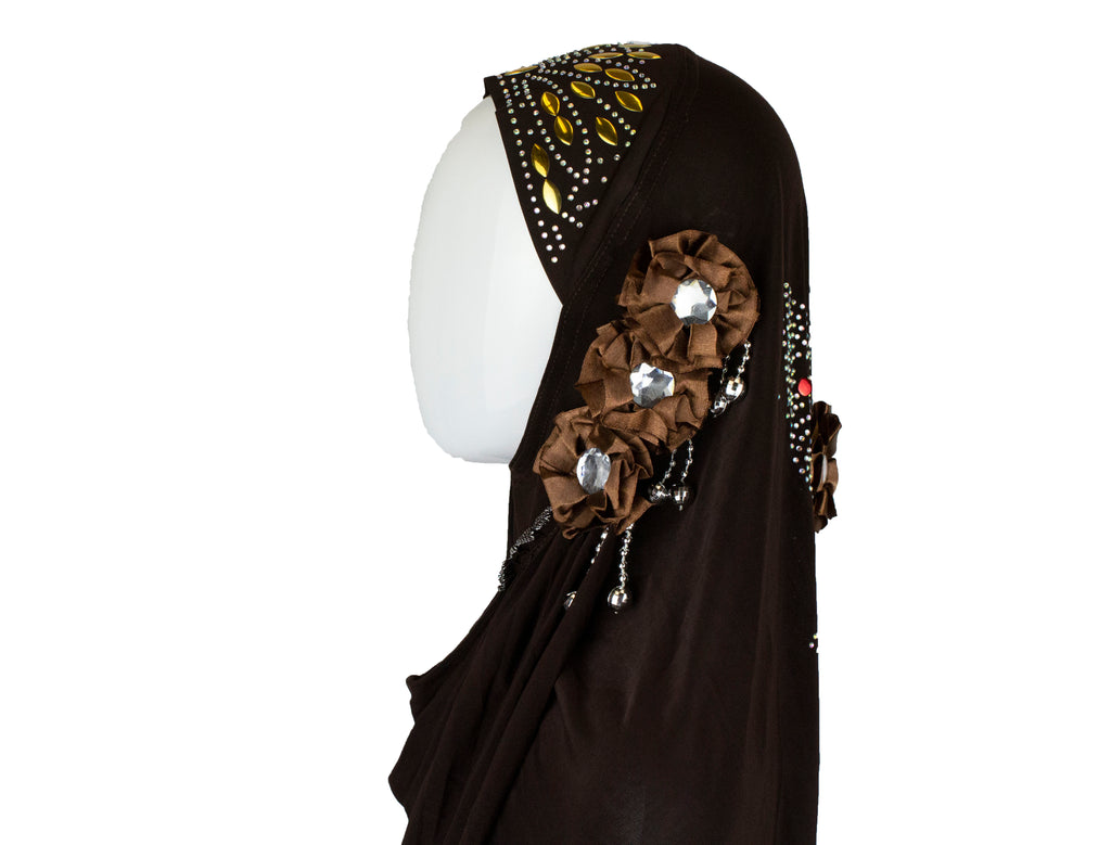 brown slip on hijab embellished with jewels, beads, and florals.