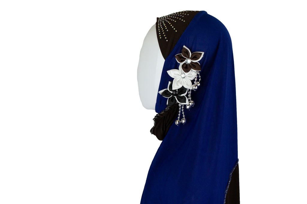royal blue and brown slip on hijab with jewels florals and beads