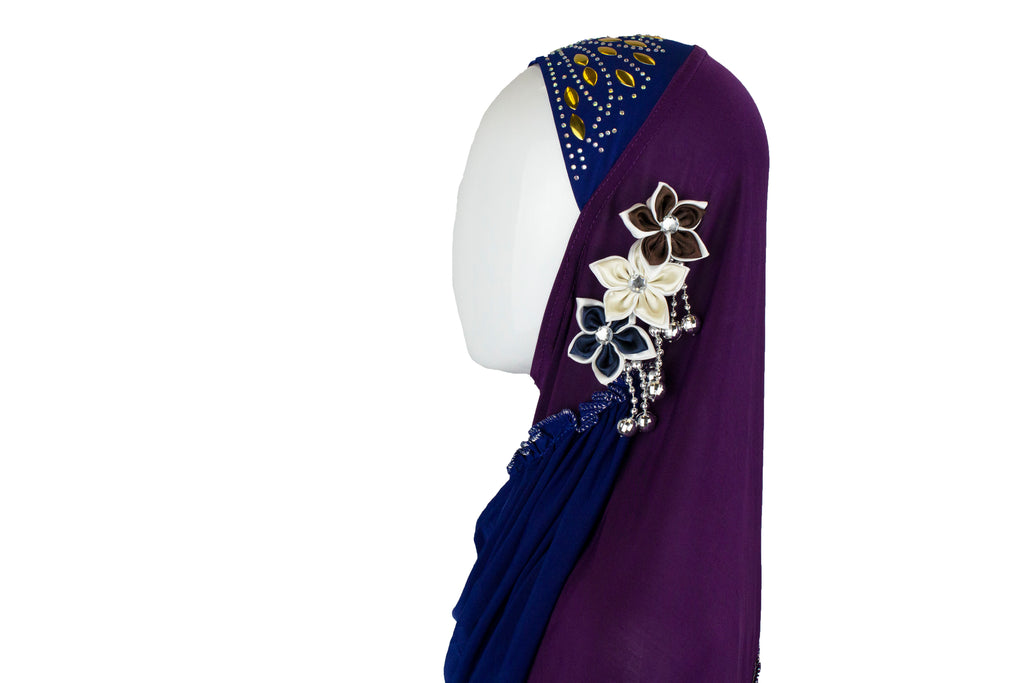 royal blue and purple slip on hijab with jewels florals and beads