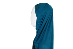 One Piece Slip On Hijab Teal & Black
