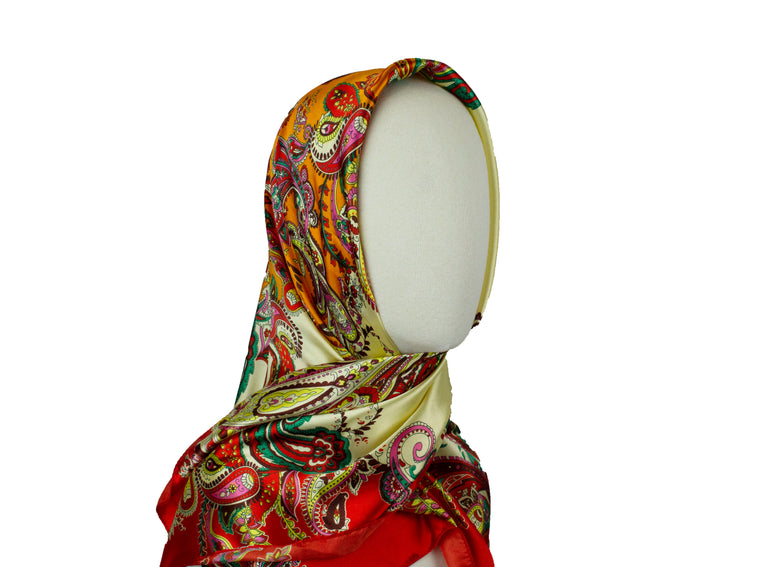 Paisley Vintage Square Hijab - Orange