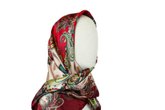 maroon satin square hijab with paisley print
