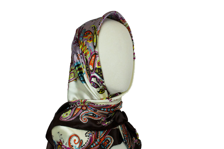 Paisley Vintage Square Hijab - Brown