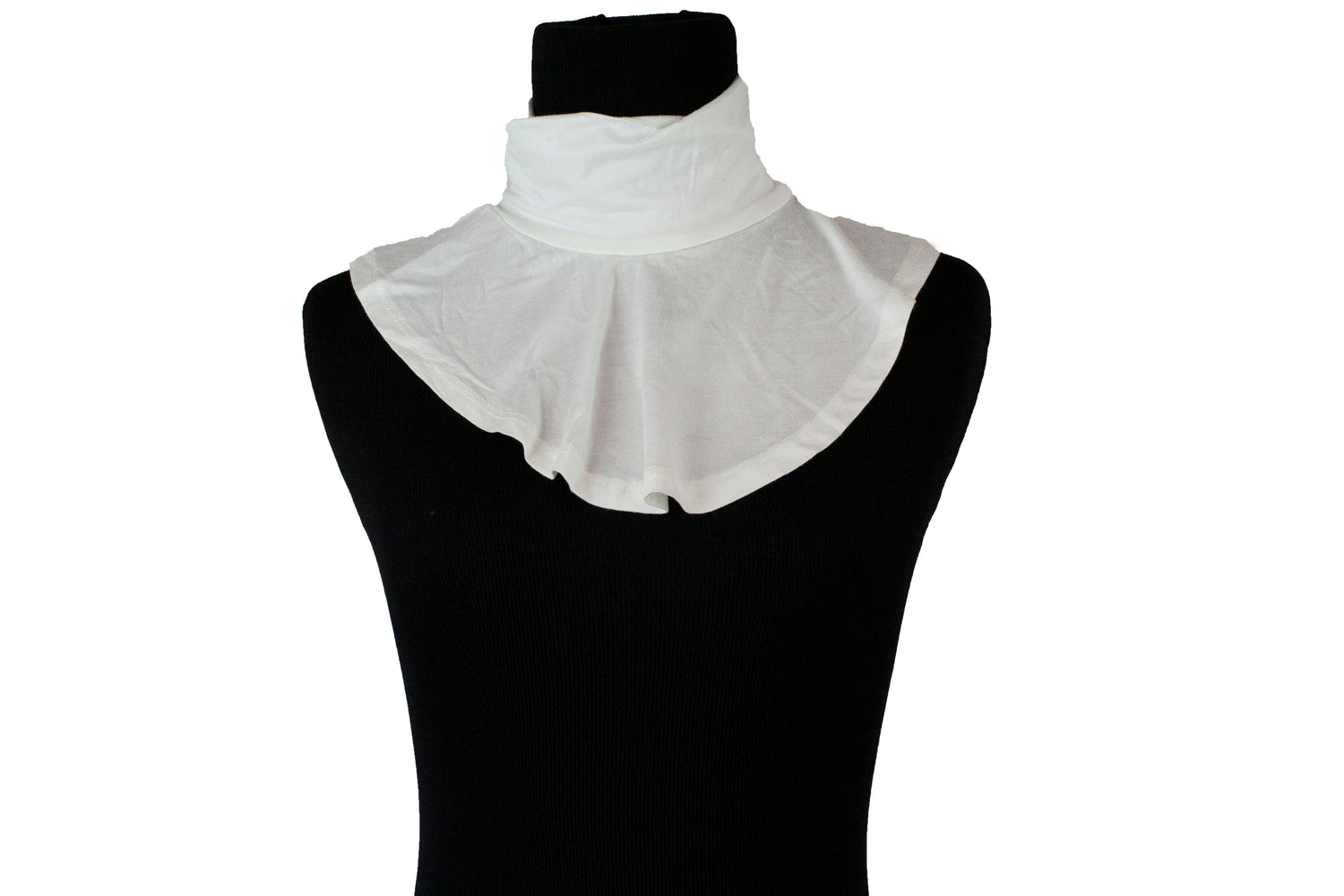 white fake mock collar in jersey material