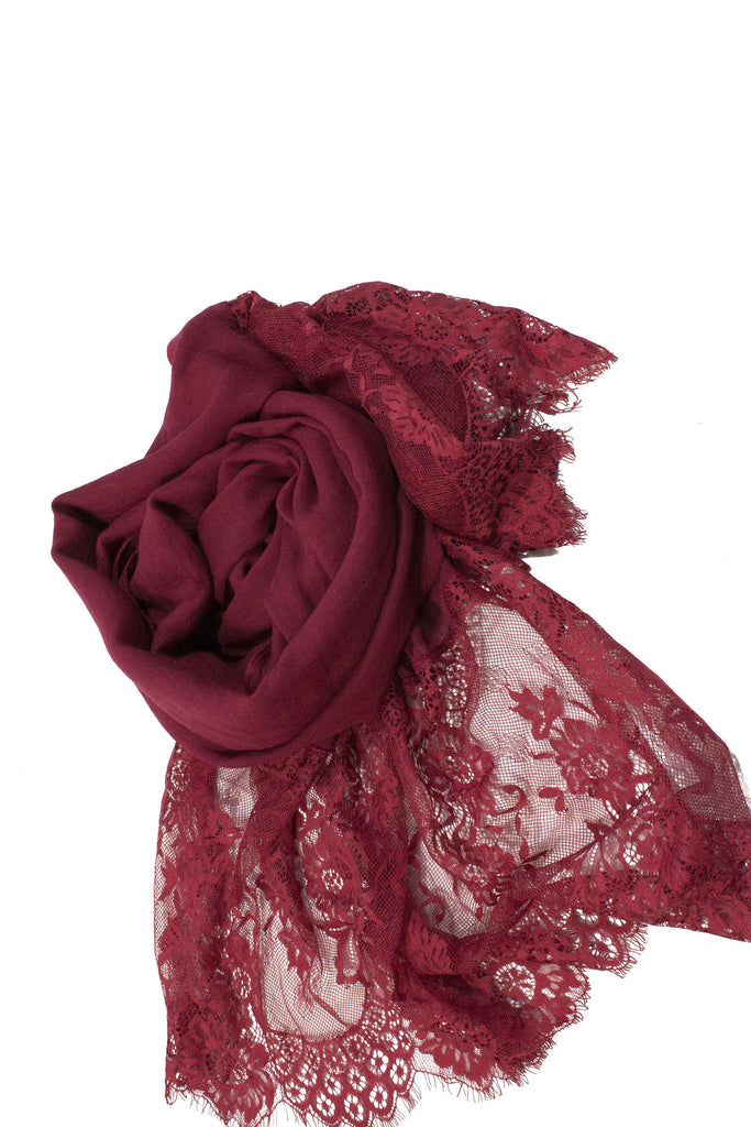 Premium Lace Hijab - Red