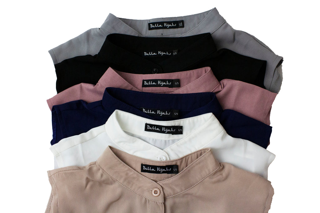 black, gray, mauve, white, and tan fake collars in a bundle