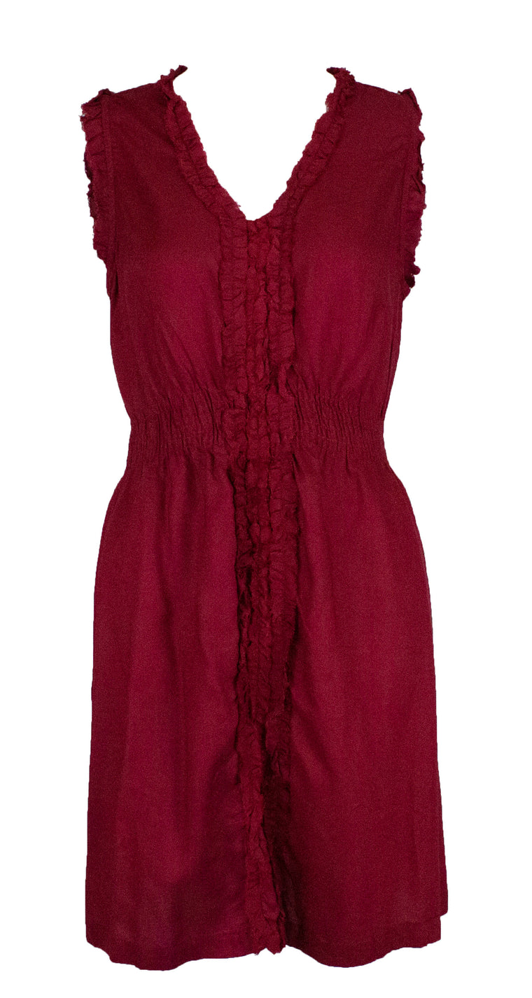 Sleeveless Ruffled Top - Dark Red