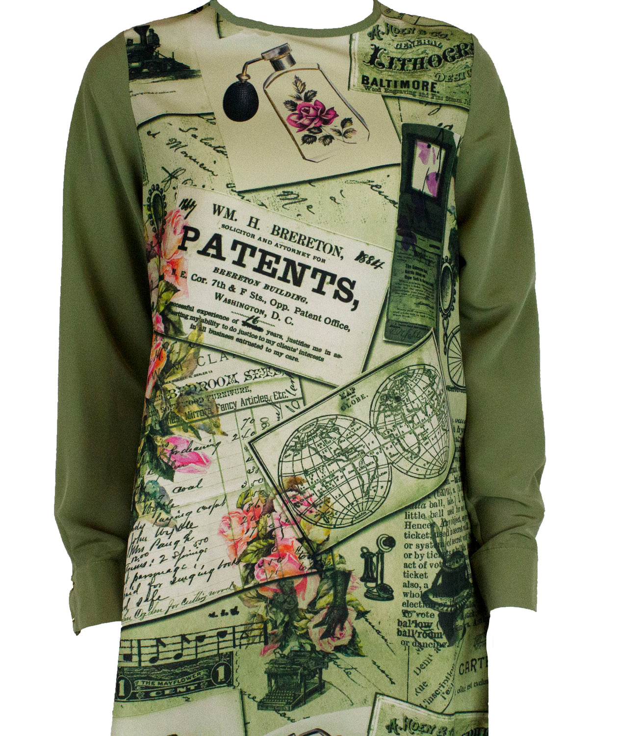 Mixed print with a solid back and solid colored sleeves in light olive green