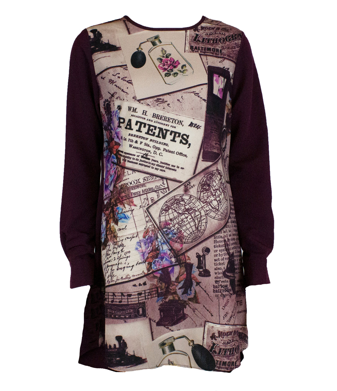 Mixed printed top with a solid back and solid colored sleeves in burgundy