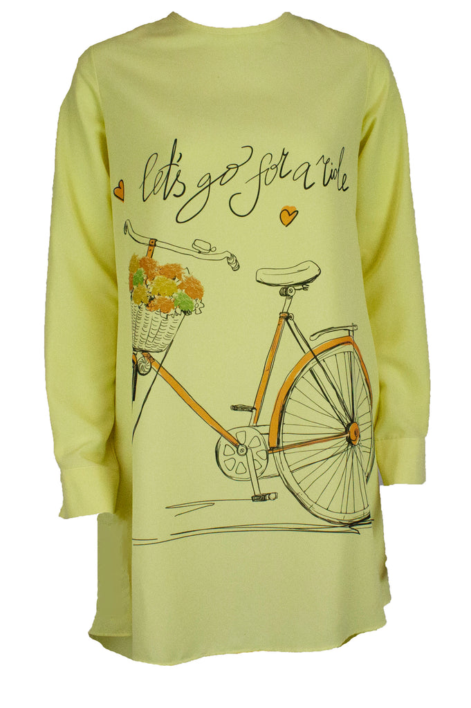 "Long sleeved blouse in yellow with printed bike and ""let's go for a ride"""