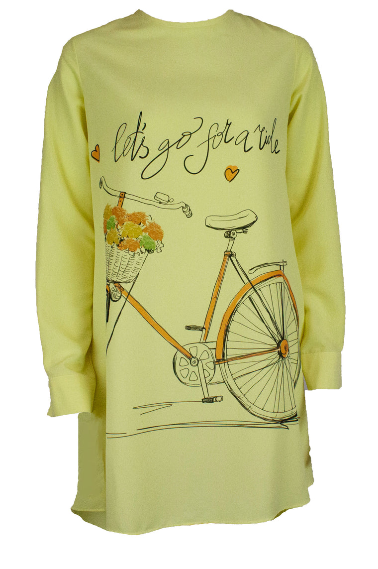 Printed Long Sleeve Hi-Low Blouse - Yellow
