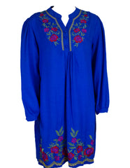 royal blue long sleeve blouse with floral embroidery