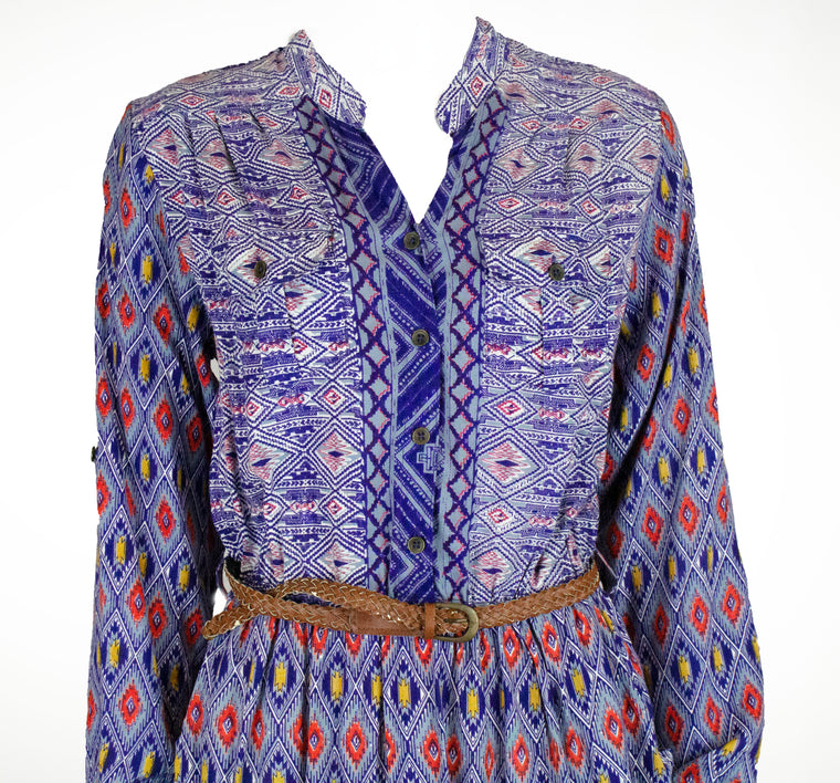 Geometric Blouse w/ Waist Belt
