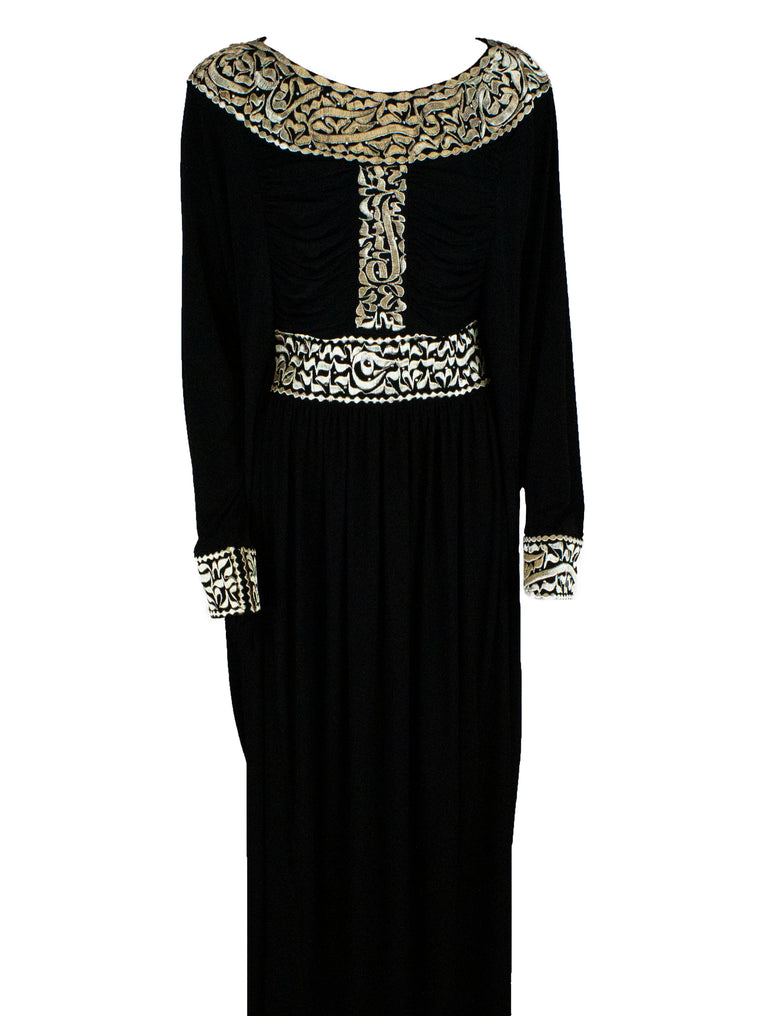Gold Embroidered Calligraphy Abaya - Scoop Neck