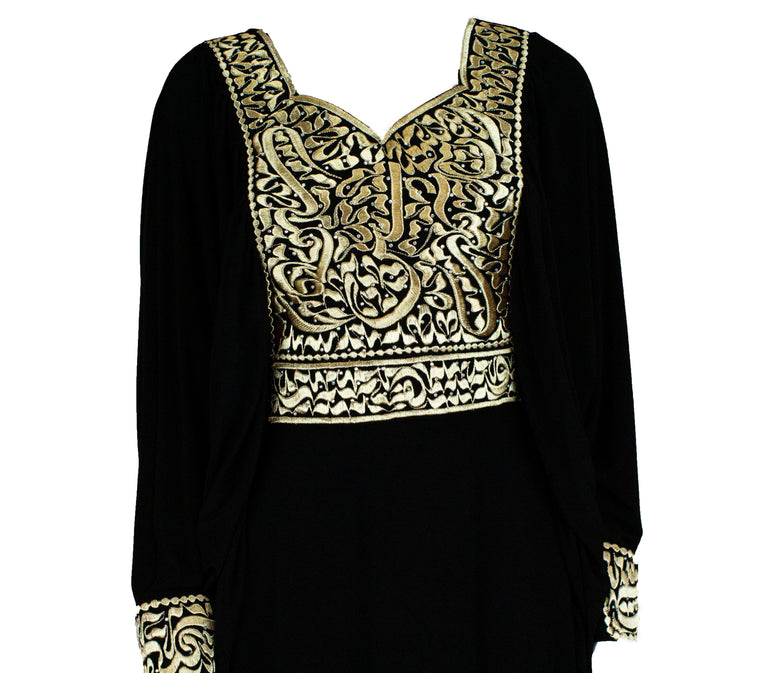 All black abaya embroidered with gold Arabic calligraphy along the neckline, waistline, sleeves, and down the chest.