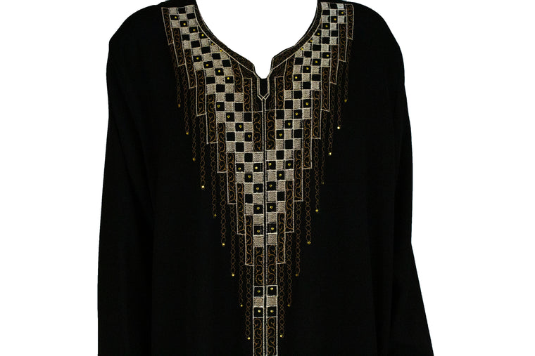 black abaya made in kuwait embellished with brown and tan embroidery and jewels