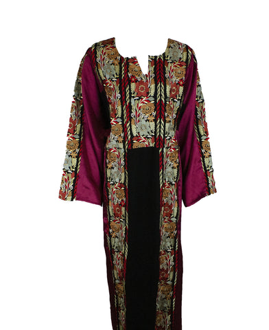 burgundy abaya with lots of floral embroidery all along the abaya with satin sleeves