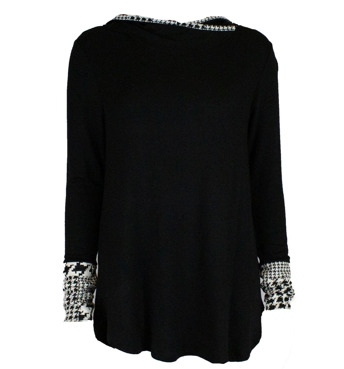 lightweight black sweater with a hood and white and black detailing on the sleeves
