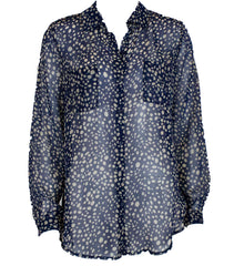 navy blue chiffon blouse with tan spots