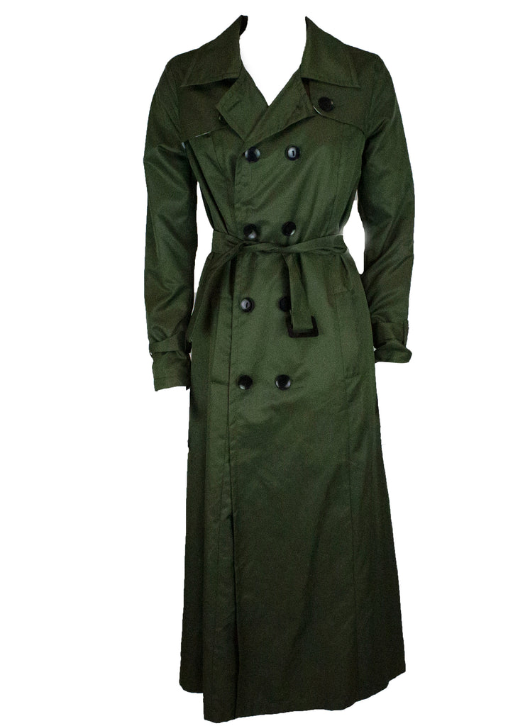 olive trench coat with buttons and a waist tie