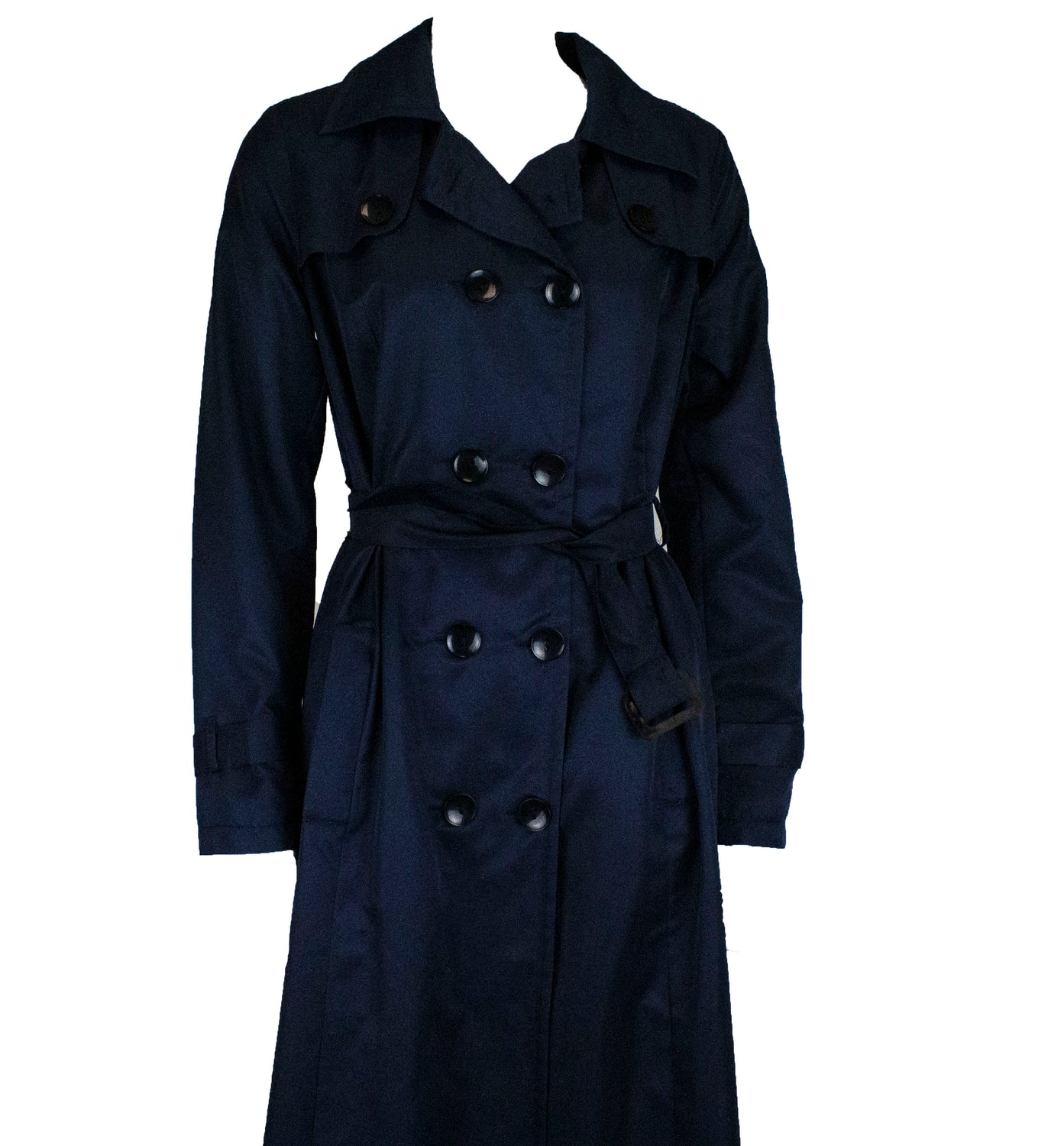 navy blue trench coat with buttons and a waist tie