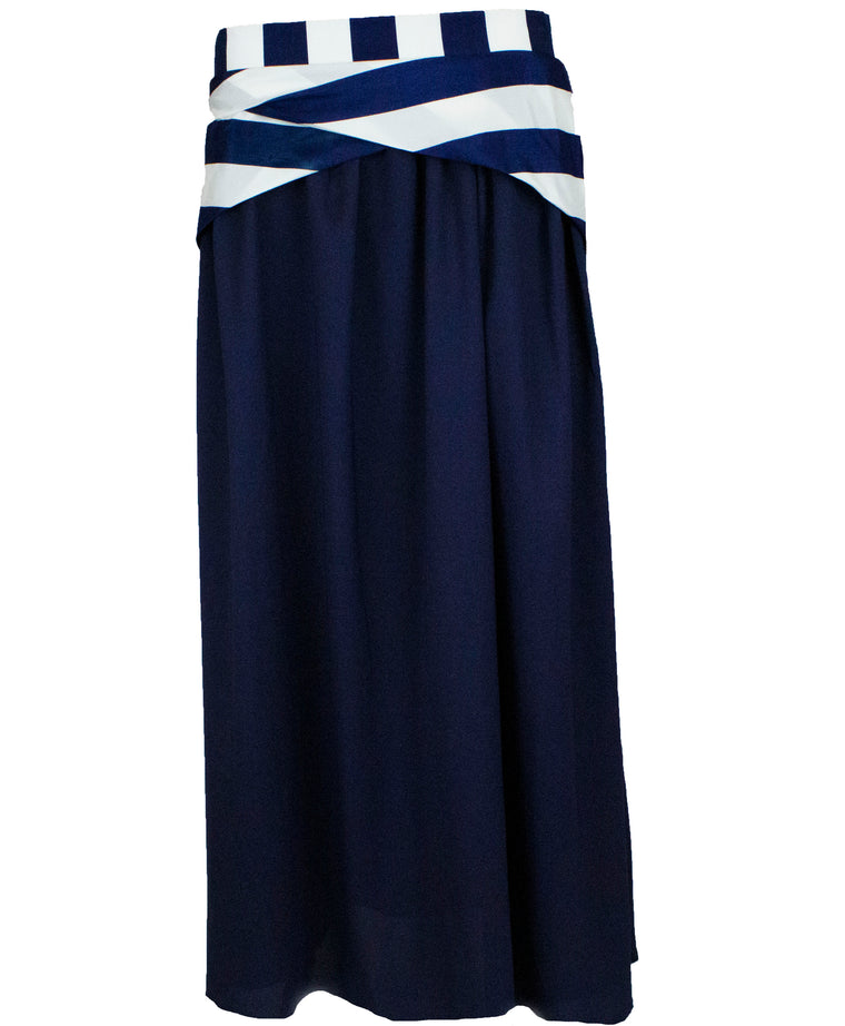 Crepe Skirt with Satin Stripes - Navy