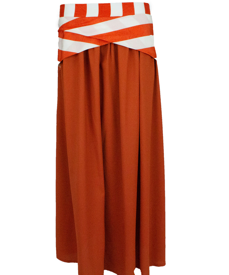 Crepe Skirt with Satin Stripes - Orange