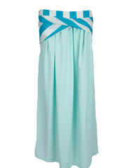 Crepe Skirt with Satin Stripes - Cinderella Blue
