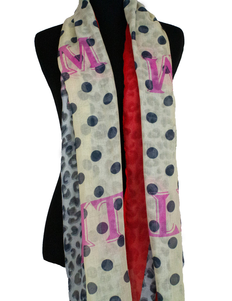 Mixed Polkadot Cheetah Print Hijab - Red & Pink