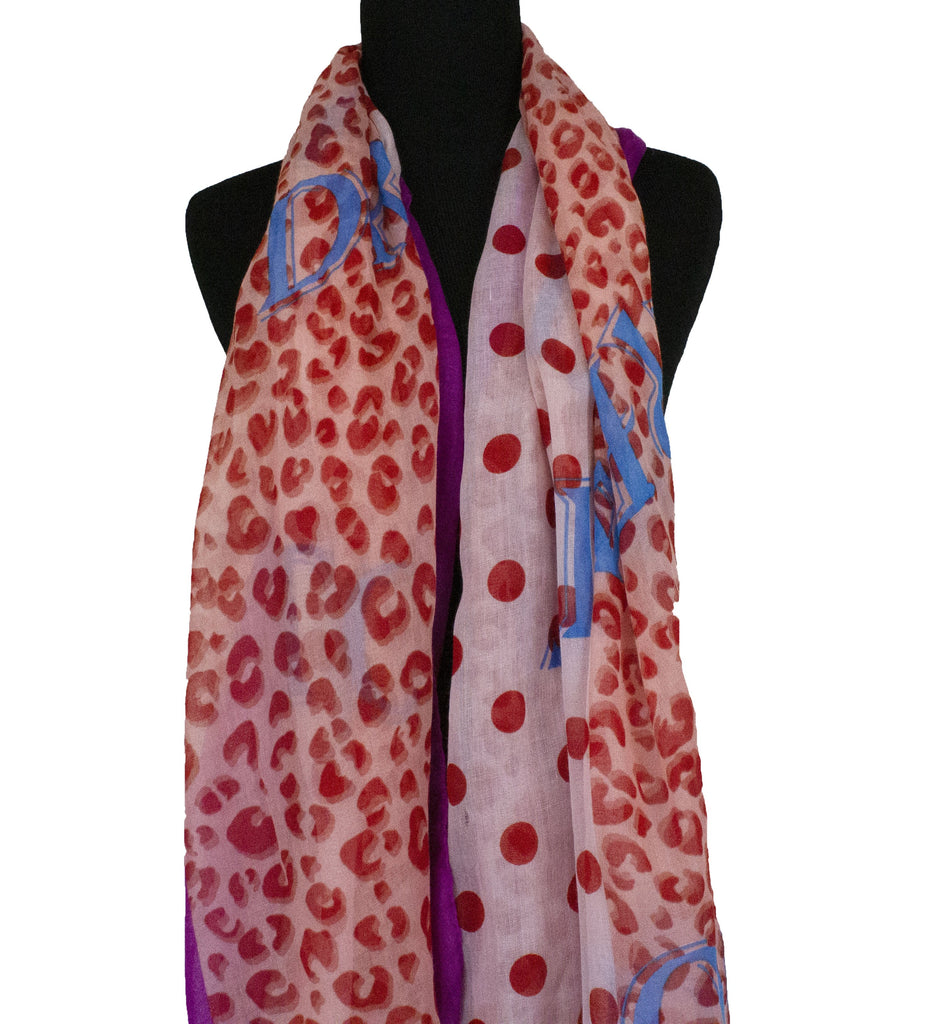 red blue and pink hijab with polka dots and cheetah print