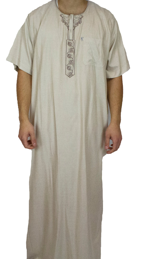 Men's Short Sleeved Thobe with Pants - Tan