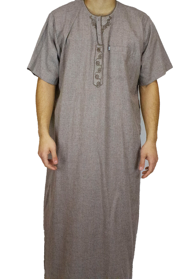 Men's Short Sleeved Thobe with Pants - Brown