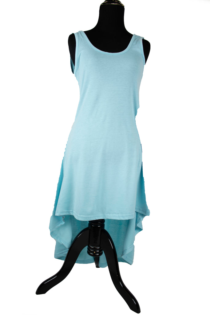 High-Low Sleeveless Top - Sky Blue